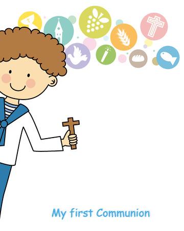 primera comunion: Primera tarjeta de la invitación de la comunión del muchacho Vectores