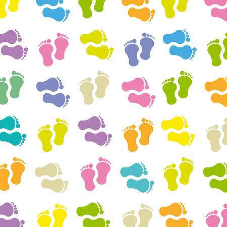 huellas pies: sin patrón, con la huella del bebé Vectores