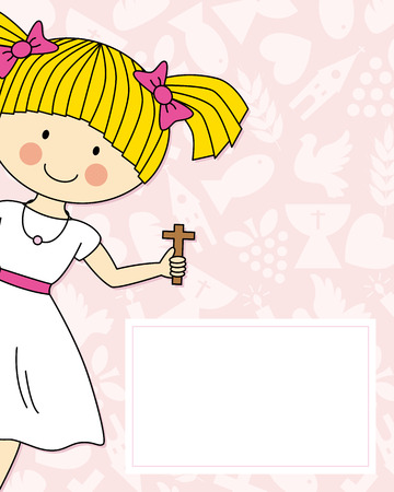 Girl first Communion Invitation Card 向量圖像