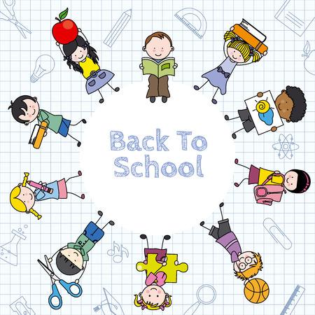 Tarjeta de volver a la escuela Los niños y los iconos de la educación