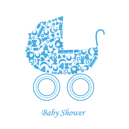 Baby boy arrival announcement card  baby icons Vector