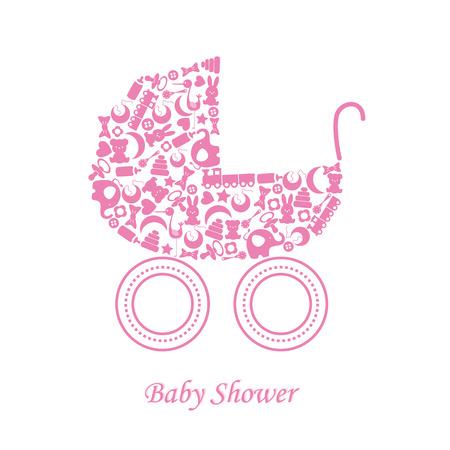 Icone del bambino arrivo annuncio carta Baby girl