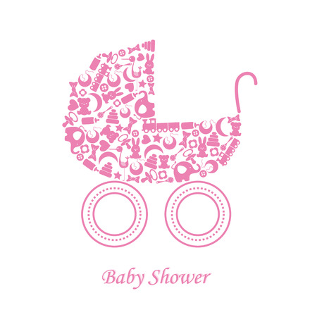 Baby girl arrival announcement card   baby icons Illustration