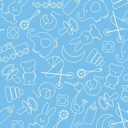 blue background with baby icons Vector