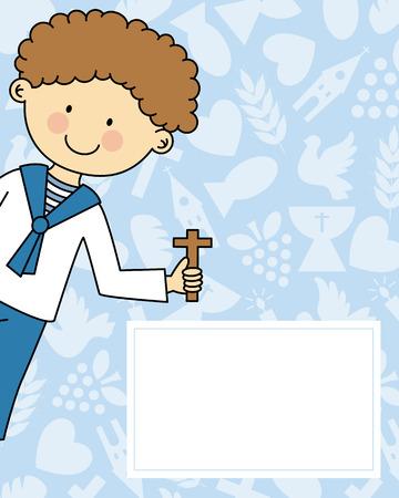 divine: Jongen eerste communie Stock Illustratie