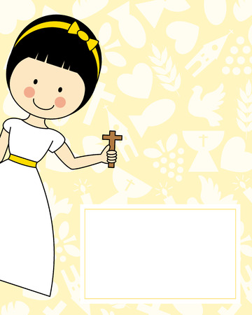 the first communion: Girl First Communion Illustration