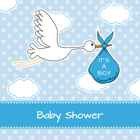 baby arrival: Baby boy arrival announcement card  Illustration