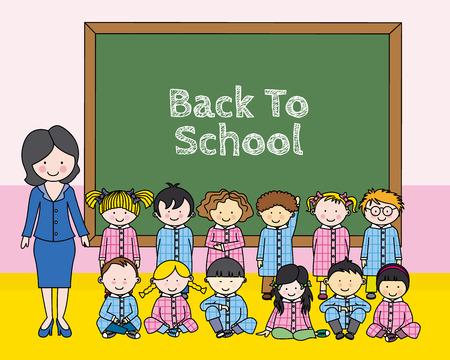 preschool teacher: Children with teacher at school
