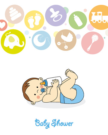 baby with bottle: Baby boy arrival announcement card  Illustration