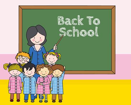 Niños con el maestro en la escuela