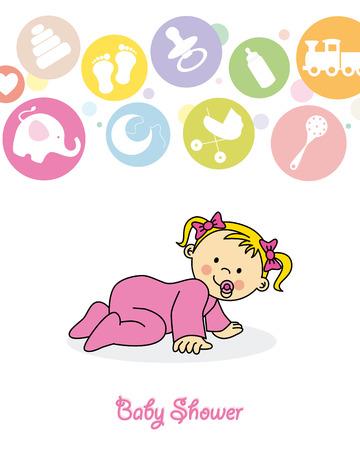 baby girl crawling Vector