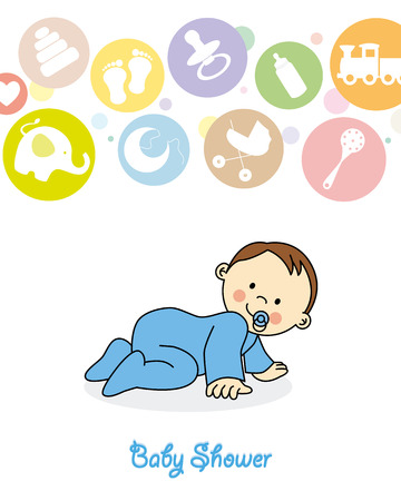 baby boy crawling Vector