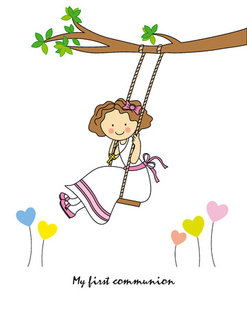 Girl First Communion  girl swinging  Vector