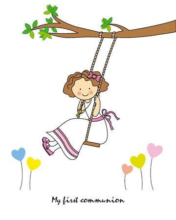Meisje eerste communie meisje swingende
