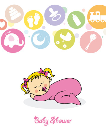 Baby girl arrival announcement card  Baby sleeping Illustration