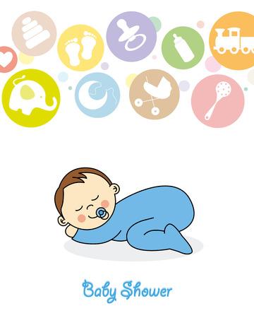 Baby boy arrival announcement card  Baby sleeping Vector