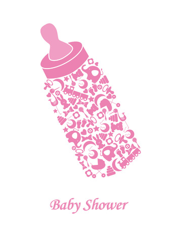 Baby girl arrival announcement card  Baby bottle Vector