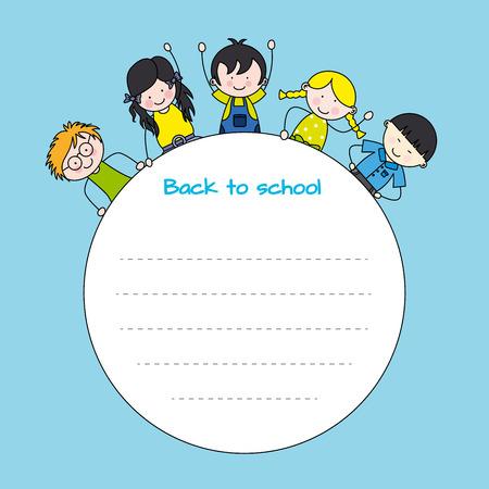 school frame: children back to school  Frame for text