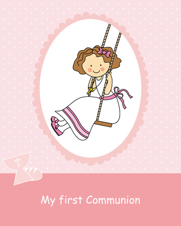 primera comunion: Balanceo de la niña Chica Primera Comunión Vectores