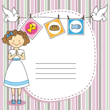 Eerste Heilige Communie uitnodigingskaart Girl
