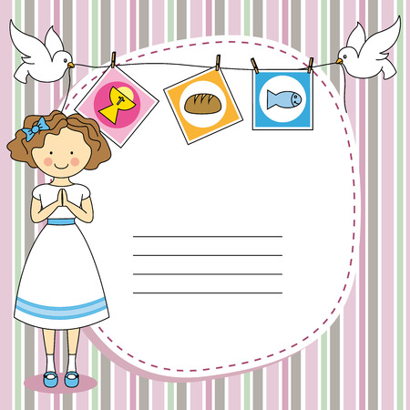 First Communion Invitation Card  Girl  Vector