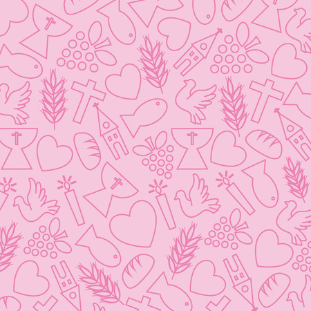 comunion: Fondo rosado con los iconos de la comunión