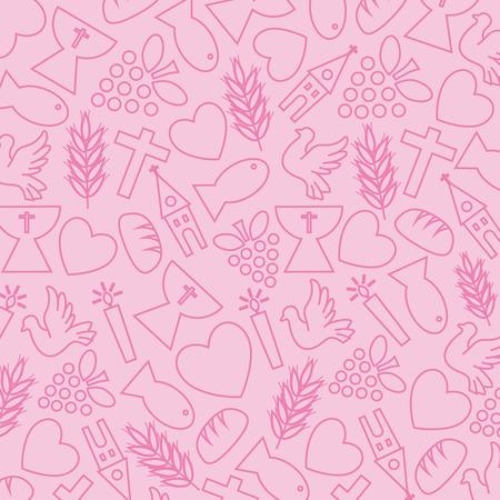 Sfondo rosa con le icone di comunione Archivio Fotografico - 29623547