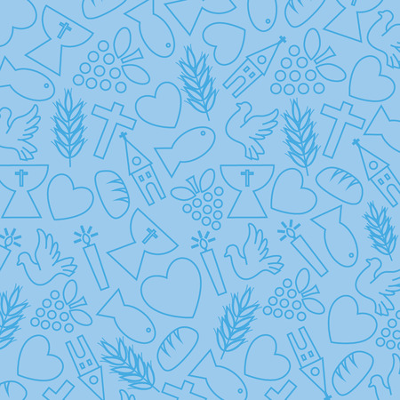 Blue background with communion icons Vector
