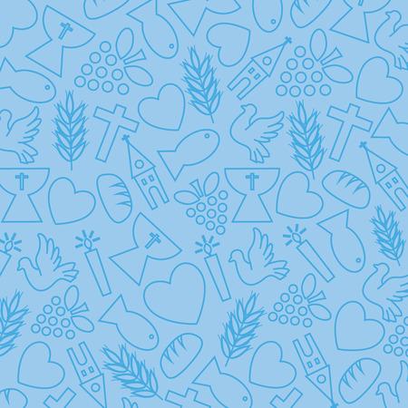 comunion: Fondo azul con los iconos de la comunión Vectores
