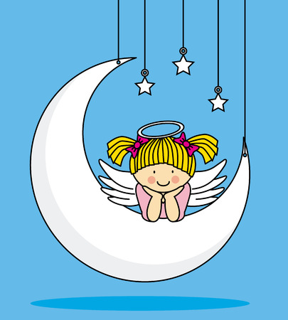 Angel on a Moon  Vector