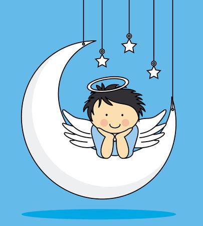 Engel op een maan Stock Illustratie