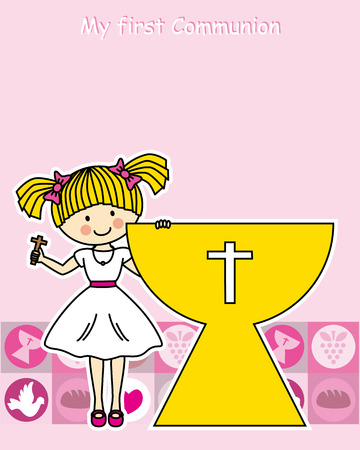 holy family: Girl first Communion Invitation Card Illustration