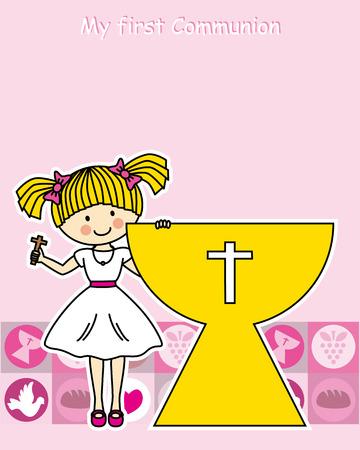 holy grail: Girl first Communion Invitation Card Illustration