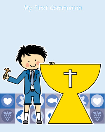 Boy first Communion Invitation Card Vector
