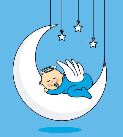 baby boy sleeping on the moon Illustration