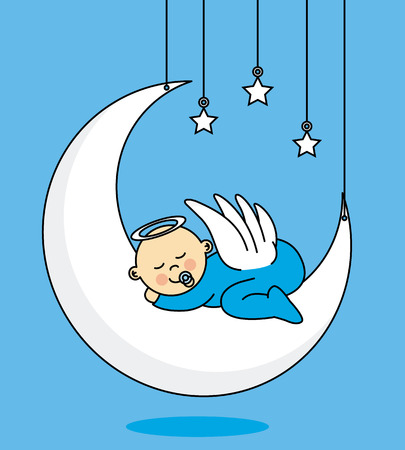 baby boy sleeping on the moon Stock Illustratie