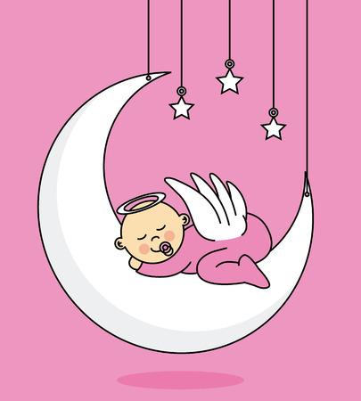 christening: baby girl sleeping on the moon