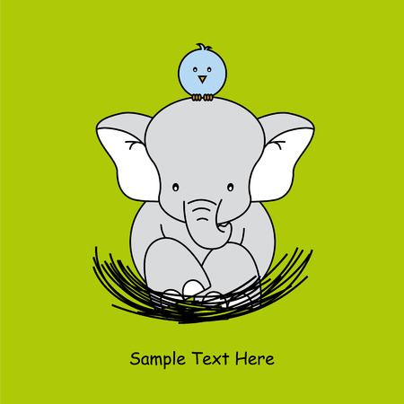 Greeting card  elephant sitting on the nest of a bird