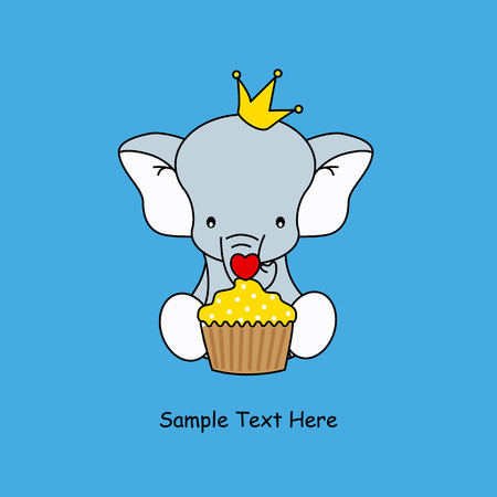 Greeting card  elephant with a muffin Vector