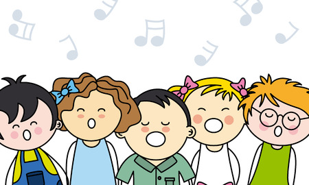 kids singing Stock Illustratie