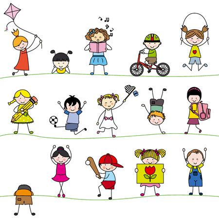 A group of little children  イラスト・ベクター素材