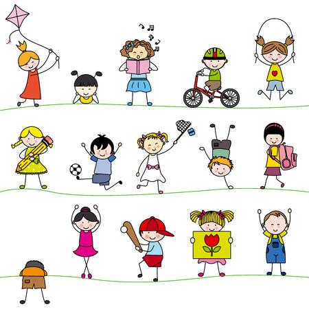 A group of little children 일러스트