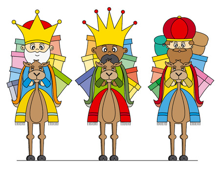 Three Kings on camels Vector