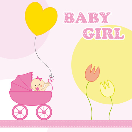 baby girl birthday card Vector