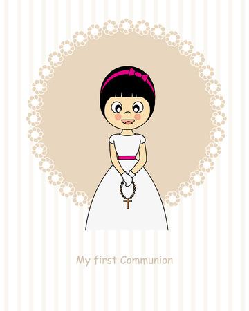 familia en la iglesia: Niña Primera Comunión