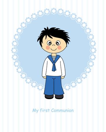 vormsel: Jongen eerste communie Stock Illustratie