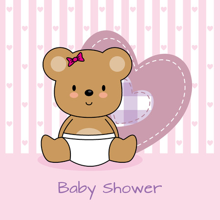 baby girl background: baby shower card. bear and heart