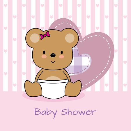 baby shower card. bear and heart Vector