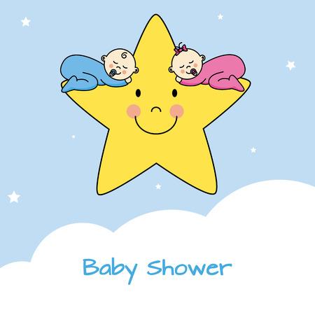 ni�as gemelas: Tarjeta de celebrar el nacimiento de gemelos. Los gemelos durmiendo en una estrella Vectores