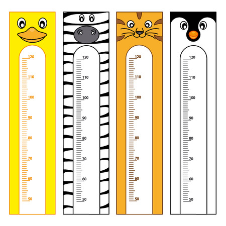 measure height: Bumper children meter wall. Animals Stickers Illustration